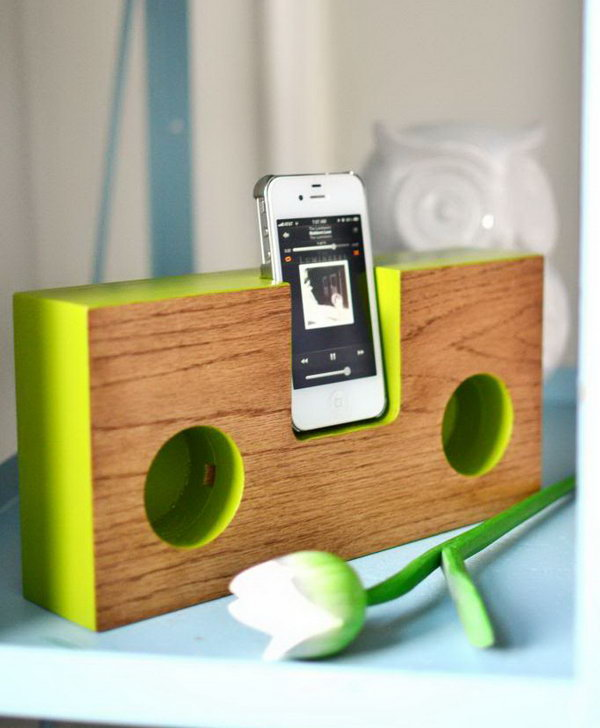 Wooden iPhone Speaker:  This easy to make wooden iPhone speaker acoustically amplifies the iPhone's built-in speaker using hand-cut sound chambers, boosting your device's volume up to four times—all without using electricity. See the tutorial