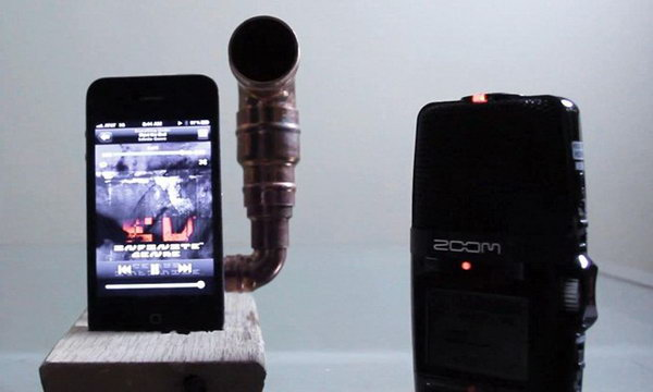 DIY Copper Piping iPhone Amplifier: To help hear your favorite music and movies, you can use this DIY Copper Piping iPhone Amplifier anywhere you go. This simple amplifier made out of copper piping and a piece of wood can increase your volume by 14 decibels. See the tutorial