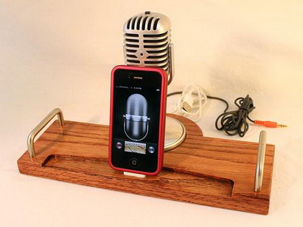 Handmade Docking Station with Retro Microphone for iPhone: This iPhone speaker which can be used as your iPhone stand and as charge docking station features an integrated retro microphone with silver coating to amplifying the music volume.
