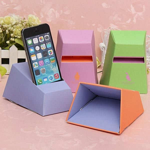 DIY Craft Smart Paper Horn Speaker Holder Mount For iPhone: Made out of recycled degradable paper material, this paper iPhone speaker produce no pollution to the environment. And it can effectively  improve the mobile phone volume, and add more sonorous music scene feeling. You can also use it to hold the phone. See the tutorial