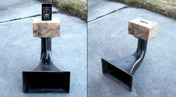 Vintage Phonograph Horn iPhone Speaker: To make this cool iPhone speaker, you should combine a vintage phonograph horn with natural wood and cut a hole big enough for your iPhone to fit into. And you're able to enjoy booming sound on your desk, kitchen table or patio.