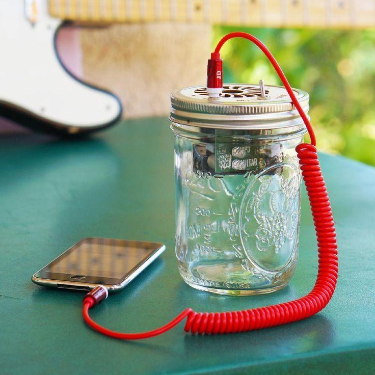 Mason Jar Speaker. See the tutorial