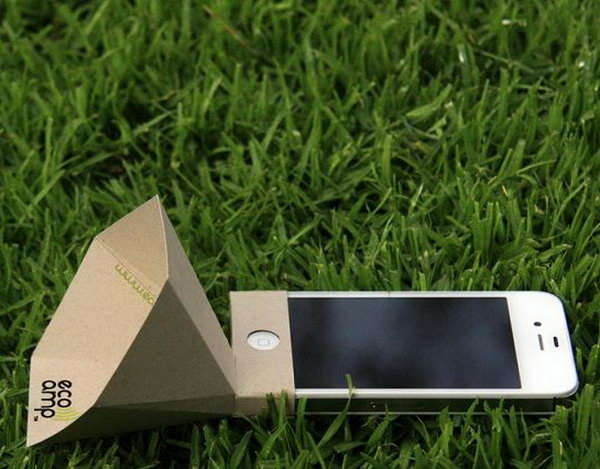 Portable iPhone Speaker Made from Recycled Paper: It's portable and eco friendly made out of recycled paper. The best part of this beautiful design is that it doesn't require any electricity to amplify the sound, so you can still rock out if the power goes out.  See the video tutorial
