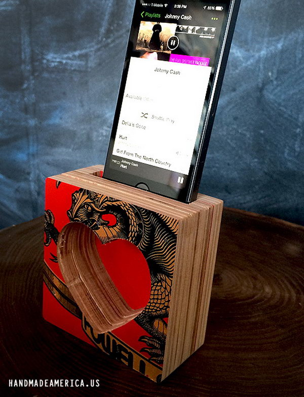 Skateboard Deck iPhone Speaker: Cut your old skateboard decks into a few pieces and then adhered them together to create a sound chamber. Finish it by creating a slit at the top to slip your iPhone into. And you'll get the coolest custom made iphone speaker. See more details