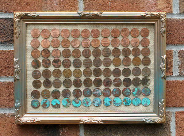 DIY Penny Ombre Art. A fun summer time science experiment that is perfect to do with kids! Get the tutorial