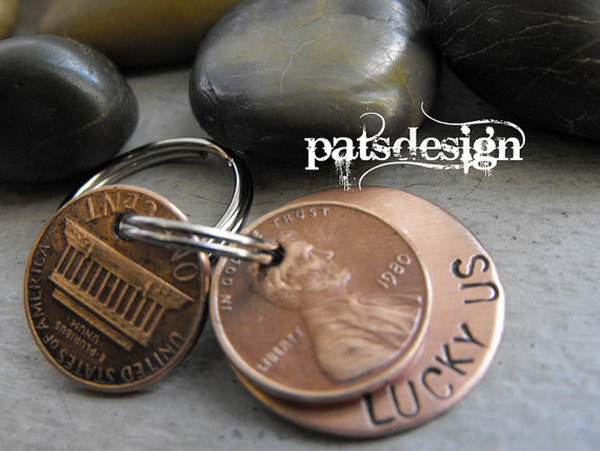 Lucky Copper Keychain with Two Lucky Pennies. This simple, do it yourself craft can give new purpose to old pennies and can be accomplished with a drill and a few tools. See more