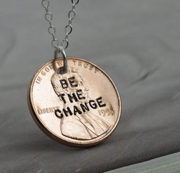 DIY Penny Necklace. Be the Change! Get the tutorial