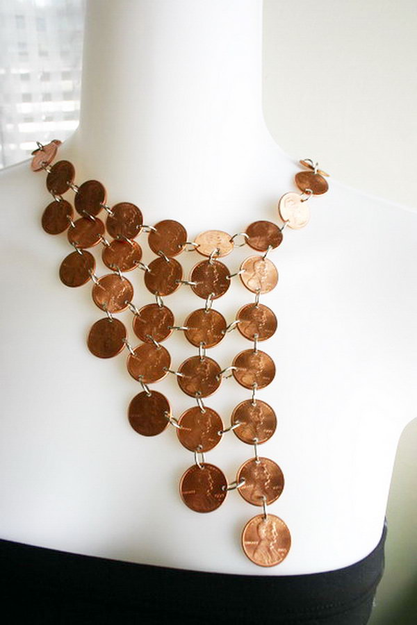 Amazing Penny Necklace. Another creative penny craft is to make a custom and amazing penny necklace for your own.  Get more inspiration