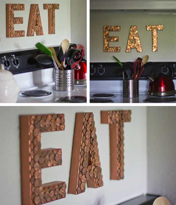 20 creative diy penny crafts ideastand using cardboard paper mache letters copper paint and pennies