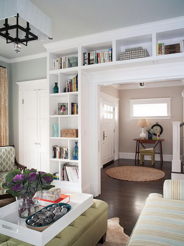Here is one more example of built-in bookcases. It  not only adds a ton of extra character and storage to the house, but they really can make a small house feel so much bigger! See more instructions