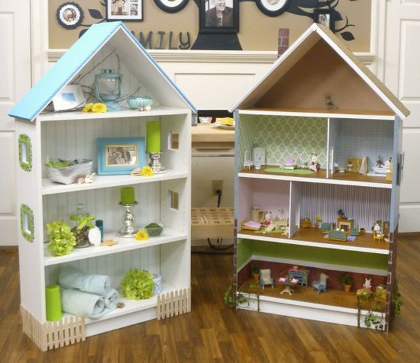 DIY Dollhouse with  BILLY Bookcase.  By adding a roof, chimney, wooden details, paint, fences, walls and even windows, the Billy Bookcase becomes a chic dollhouse for your little one. Learn how to make it