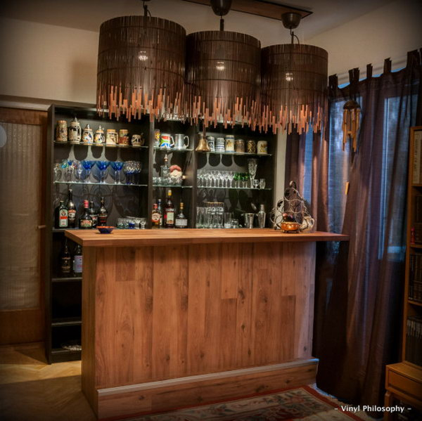 DIY Gorgeous Home Bar Built from BILLY Bookcases. See more photos and details