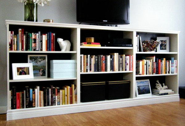 Turn 3 BILLY Bookcases From IKEA Into An Entertainment Stand In The Living  Room. Check
