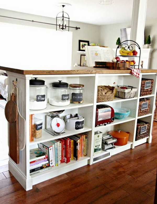 diy kitchen island this kitchen island is composed of an ikea butcher block and three - Ikea Bookshelves Ideas