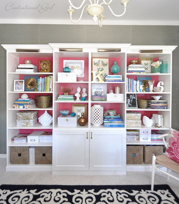 create a built in bookshelf wall in your living room by mixing and matching together ikea - Ikea Built In Bookshelves