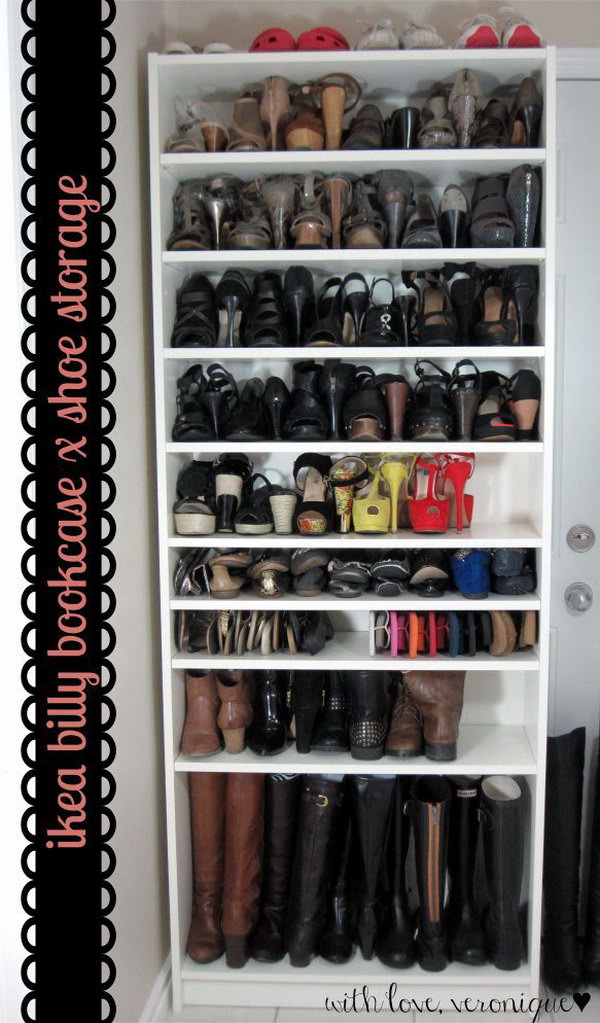 Clever Shoe Storage with IKEA BILLY Bookcase. Get a more shoe storage by adding some BILLY extra shelves to the simple bookcase. Check out more instructions