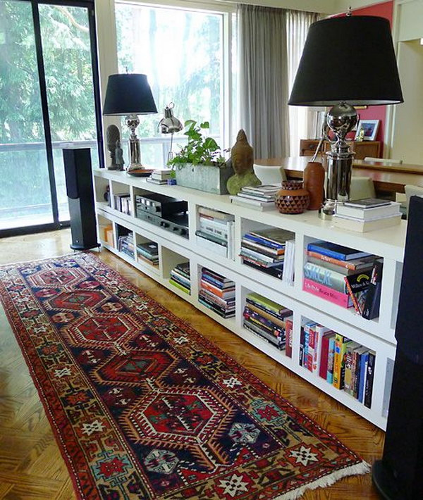 diy billy bookcases behind a couch - Ikea Bookshelves Ideas