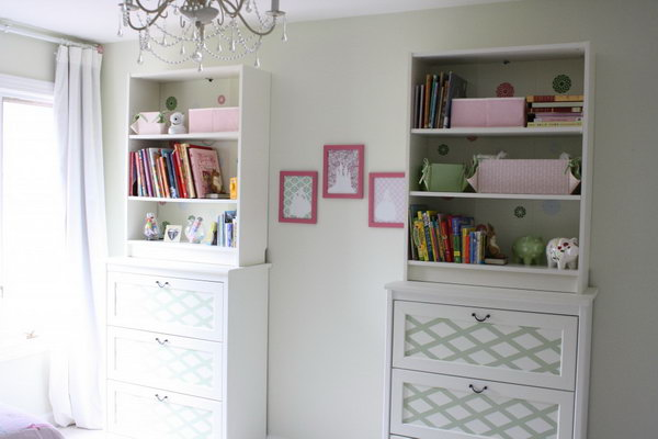 Place the BILLY bookcase on top of the chest of drawers. Then  secure them to the wall to this custom and beautiful furniture that provides TONS of storage. Get the step-by-step instructions
