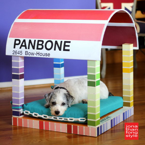 Paint Chip Dog Bed. We can see potential projects from the different angle. Look at this adorable and interesting one. Just turning an IKEA LACK table upside down, adding a half sonotube as the canopy of the dog bed and decorating with some plastic chains and beautiful paper, a clever and colorful four-poster paint chip dog bed is born. Your beloved pet will love it very much. Check the step-by-step tutorial