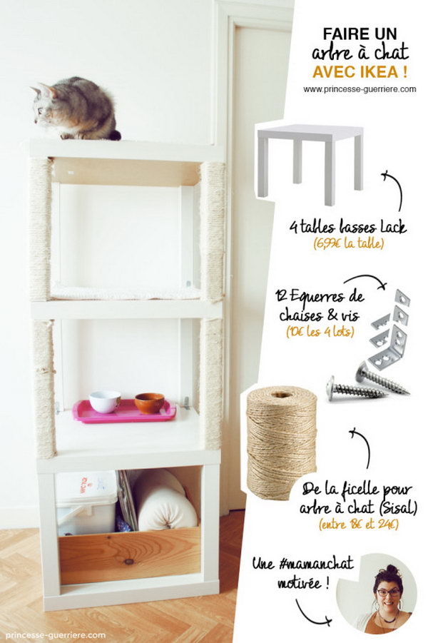 Cat Tree with IKEA LACK Tables. Combine 3 LACK tables together to create a comfortable house for your cats. Check how to do it .