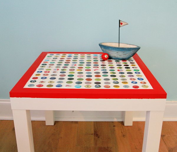 DIY Cheap and Chic Bottlecap Table. A creative and genius idea to style your LACK table from IKEA using the bottlecaps in different patterns. This DIY is more labor intensive, but it is worth the time and is really a blast to make. Get the full tutorials