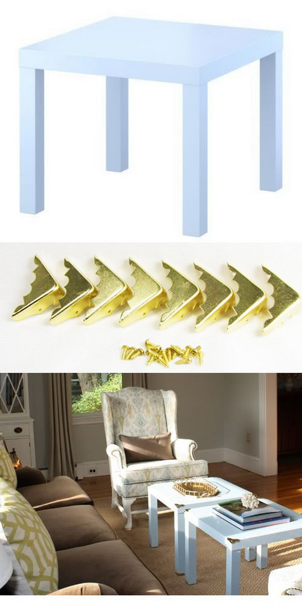 DIY Campaign Style Side Tables. These simple gold brass corners give this simple table a campaign style and make it look expensive and gorgeous in the living room. Yes? But you should choose the right color of the table that matches the whole style of the rest furniture in your room. You know this will be the easiest way to customize your LACK table. You can get the full directions