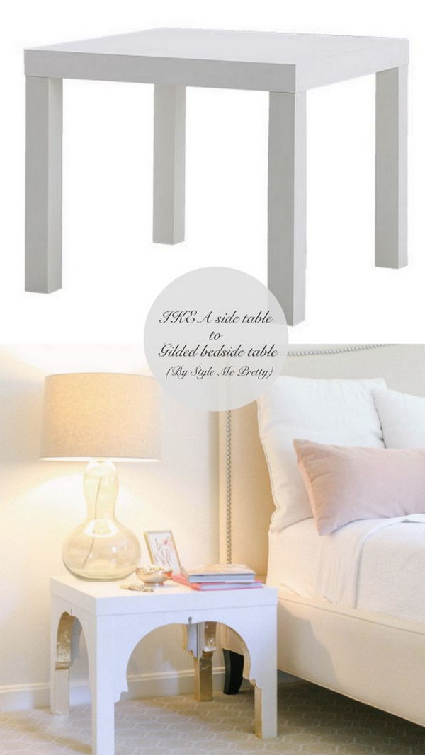DIY Gilded Bedside Table. Here is another idea to make the simple IKEA LACK  side table look and feel so much more luxurious and fantastic than you would imagine. Head over to see the detailed directions