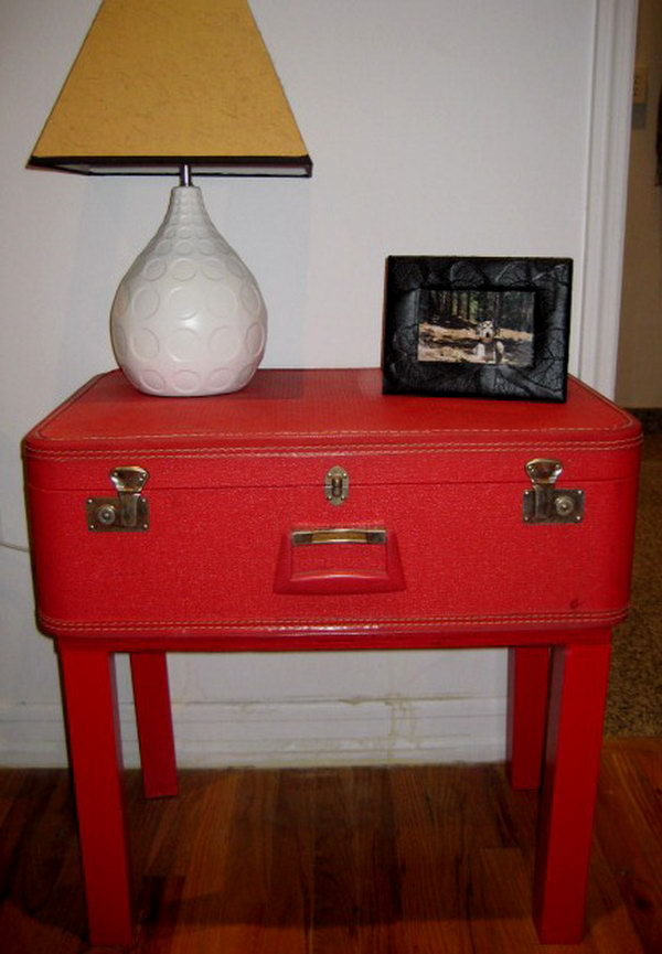 Vintage Suitcase Topped Table. Such a genius way to remove the top of her LACK table and replace with the a vintage suitcase to create more storage space. Learn more details