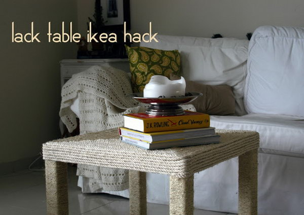 Rope-wrapped Coffee Table. Refashion  your Lack coffee table from IKEA by wrapping both the tabletop and legs with nautical rope. See more