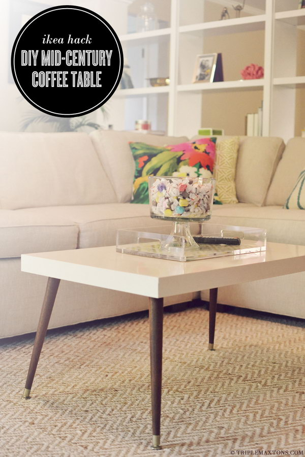 Mid-Century Modern Coffee Table.  Remove the boring wood legs of the IKEA LACK coffee table and replace with a pair of signature tapered ones. You can get this unique and custom modern coffee table. Learn the details