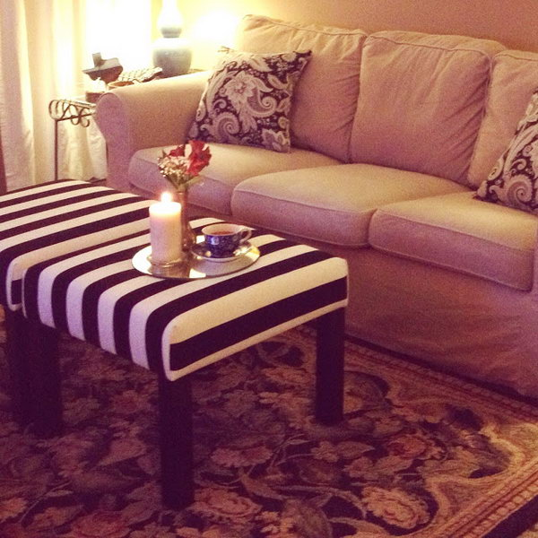 DIY Ottoman Side Table. A LACK table from IKEA is a popular purchase for its friendly price. But it is super simple in design. It's time for you to give it a bit of style. This genius and custom ottoman side table matches the space much better than before. You can get the detailed tutorials