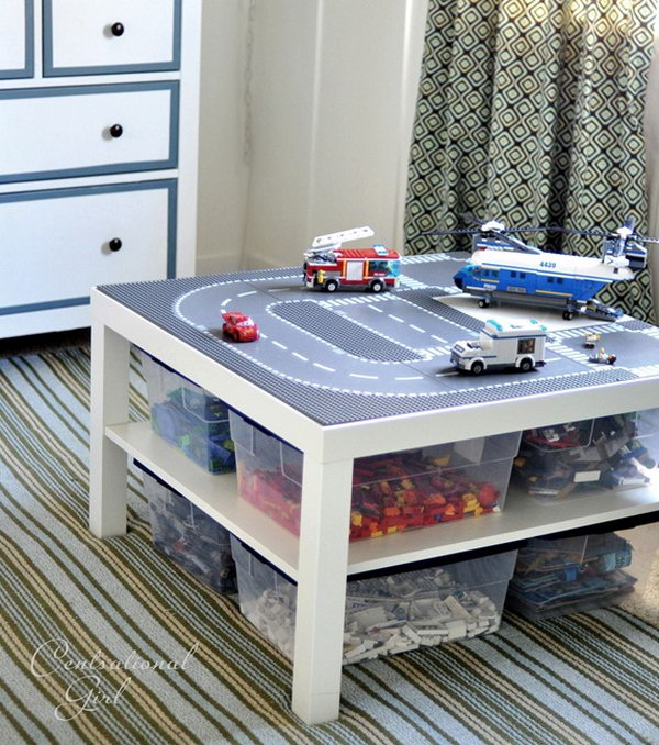 DIY Lego Table. If you have kids who are the Lego toy addicts. You will be so happy to see this genius tutorial on creating a Lego Table from an ordinary LACK table and get free from Lego chaos. See the step-by-step directions
