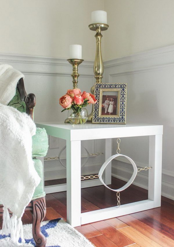 Vintage Modern End Table. Get the step by step tutorials to create this beautiful and budget friendly end table from a plain IKEA table for any room of your house