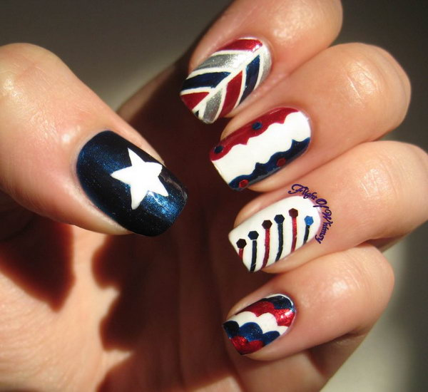 Different Patterns: This different nail design takes on the fireworks, stars and stripes is a bold way to pay homage to the land of the free. But it's fancy enough to make you look good. See the tutorial