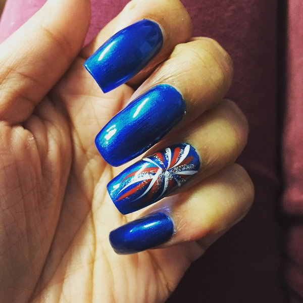 Electro Optic Blue Fireworks Nail Art