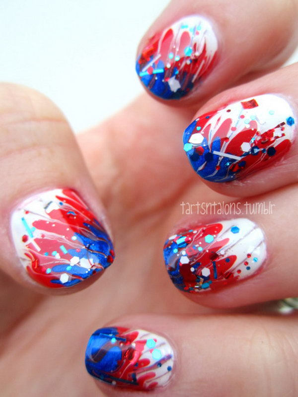 Freedom Calling Fireworks Inspired Nail Art: This free-spirited nail art is very simple to recreate and will look just as cute when the holiday is over. See the tutorial