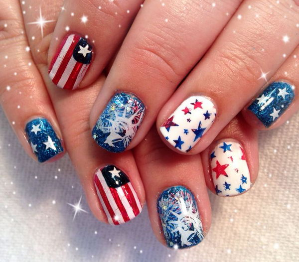 30 flashing patriotic 4th of july fireworks inspired nail for 4th of july nail art decoration flag