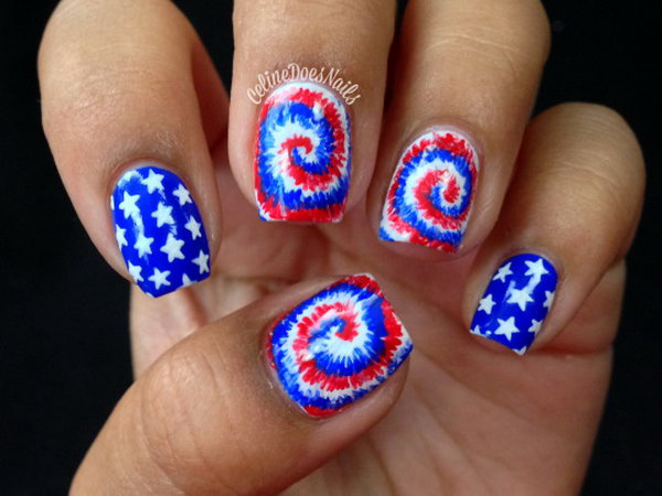 Cute Stars and Fireworks Nail Design - 30 Flashing Patriotic 4th Of July Fireworks Inspired Nail Art