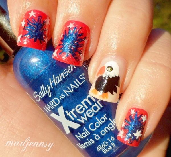 30 flashing patriotic 4th of july fireworks inspired nail art red blue white and american eagle nail art this cute nail art with prinsesfo Image collections