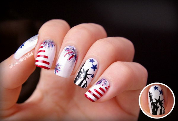 30 Flashing Patriotic 4th Of July Fireworks Inspired Nail