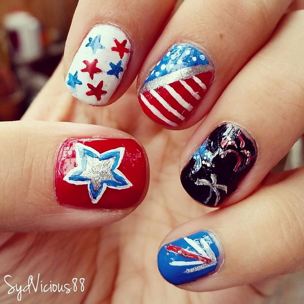 Patriotic Firework Inspired Nail: This festive 4th of July Fireworks nail  art makes something memorable - 30 Flashing Patriotic 4th Of July Fireworks Inspired Nail Art Ideas
