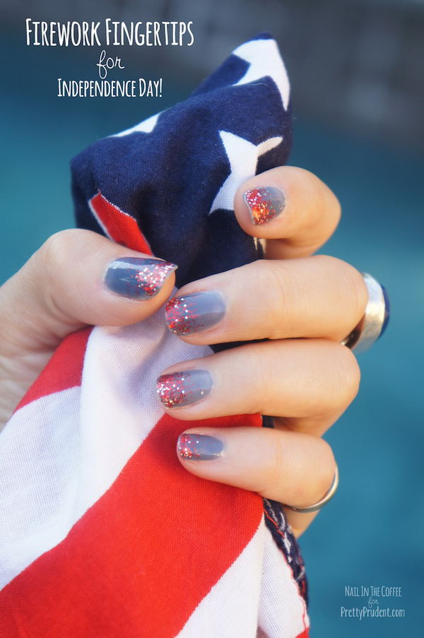 4th of July Abstract Fireworks Mani: With the red glittery sequins sparkling on the top of gray-blue base, it's the time to break out the white, red and blue tones and have a unique patriotic look.