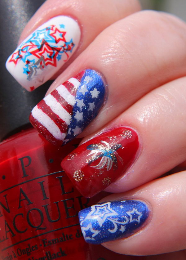 Stars, Stripes and Fireworks Nail: This fireworks Nail is rooting in patriotism with it's stars, stripes and fireworks. Learn the tutorial here.