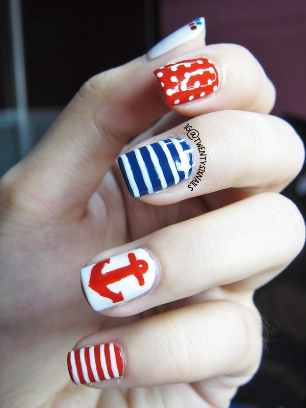 Patriotic Stripes, Anchor and Polka Dots Short Nails:  This July 4th Nail with alternate patterns to catch the eye is a clean, fancy way to rock your country's colors. See the tutorial