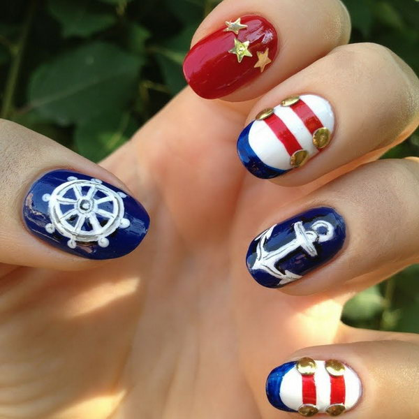 Easy Red White And Blue Nail Art Designs To Bend Light