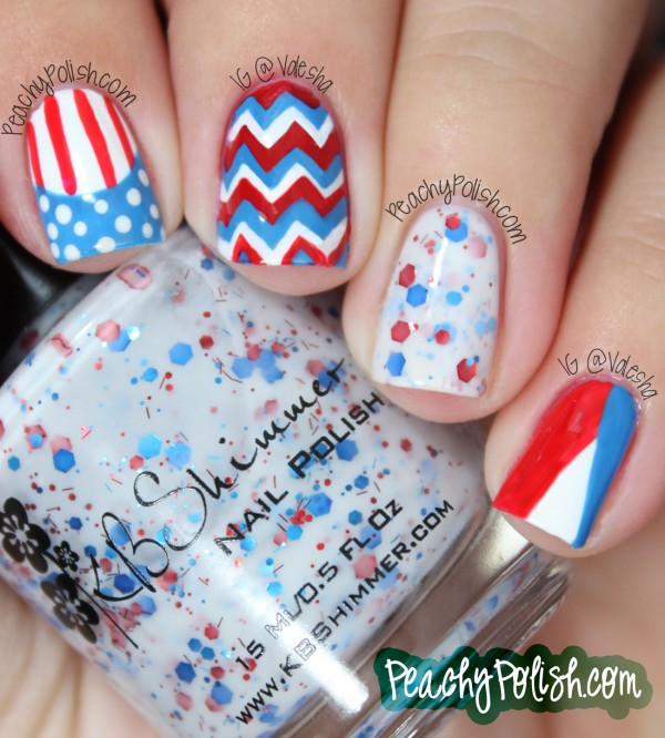 4th of July Nautical Themed Skittle Nails: This manicure looks very unique and different but it's great way to reflect the American spirit and stay cool. See the tutorial