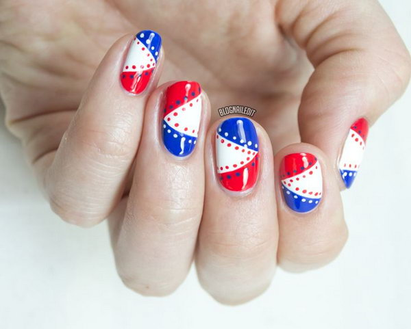 4th of July Nautical Nails: What cute nails. Simply use red, blue and  white polish, a detailing brush and a dotting tool to rock this patriotic manicure. See the tutorial