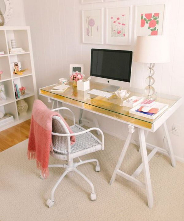 DIY Gold Leafed Ikea Desk Hack.