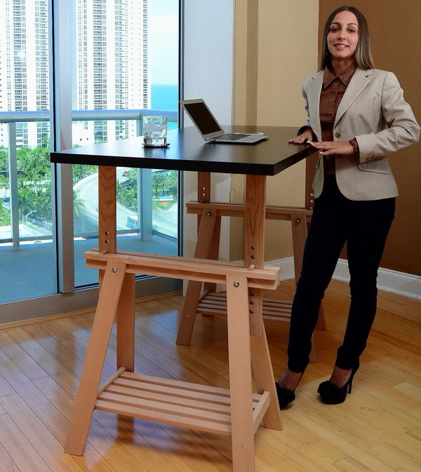 Hack An IKEA Trestle Into An Adjustable Standing Desk. You can adjust this desk to your height. It also looks nice and not just like a pile of furniture like many inexpensive standing desks.