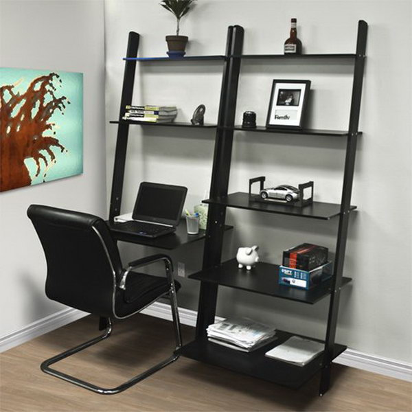Leaning Ladder Computer Desk with Bookcase. It converts any space into a work place while saving valuable floor space and lending to your overall decor.